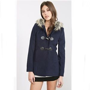 HP⭐️ F21 wool blend toggle coat blue hood fur M